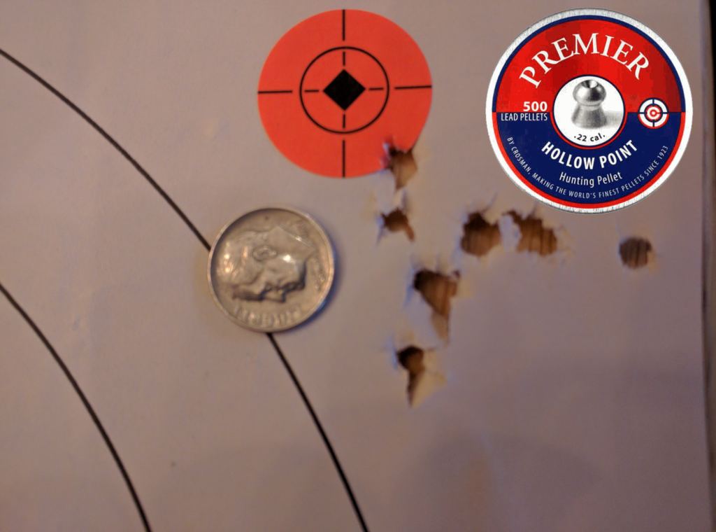 Big box store Crosman Premiere Hollow Points in 14.3g made an acceptable 10 shot group at 50 yards
