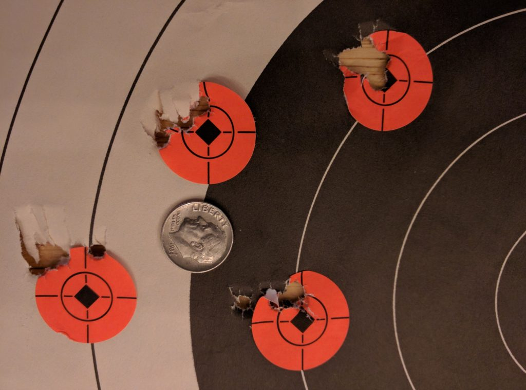 Four 5 shot groups at 50 yards with JSB 15.89g .22 pellets