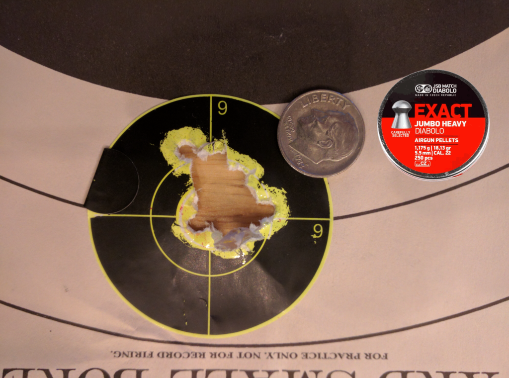 We had a few bad tins of JSB 18.13g pellets, so it was necessary to sort out the good ones in order to get these decent groups. This was a 60 shot group with our normal go-to pellet for high power .22 PCPs at 50 yards